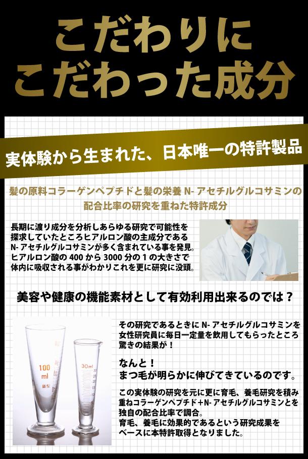 こだわりにこだわった成分。実体験から生まれた、日本唯一の特許製品。髪の原料コラーゲンペプチドと髪の栄養N-アセチルグルコサミンの配合比率の研究を重ねた特許成分。